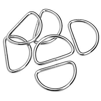 buttinette Halbringe/D-Ringe, silber, für 40 mm breite Bänder, 6 Stück
