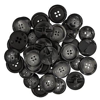 buttinette Jacken- und Mantelknöpfe, grau/schwarz, 20 - 28 mm Ø, 40 Stück, je nach Anfall