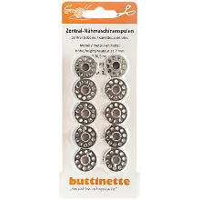 buttinette Nähmaschinenspulen für CB-Greifer, Ø 20,5 mm, Höhe: 11,7 mm, Inhalt: 10 Stück