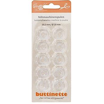 buttinette Nähmaschinenspulen für Horizontalgreifer, 20 mm Ø, Höhe: 10,5 mm, Inhalt: 10 Stück