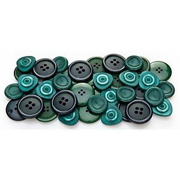buttinette Jacken- und Mantelknöpfe, petrol/grün, 20 - 28 mm Ø, 40 Stück
