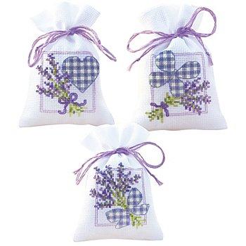 Geschenk- und Kräutersäckchen 'Lavendelherzen', 3er-Set