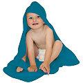 buttinette Sortie de bain pour enfants, avec capuche à broder, bleu foncé, 80 x 80 cm