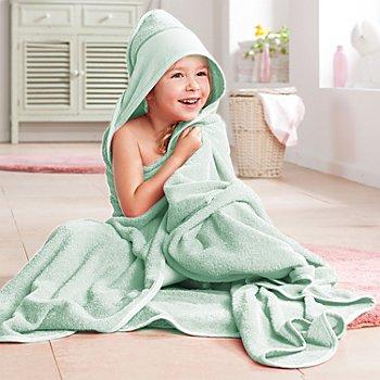 buttinette Sortie de bain pour enfants, avec capuche à broder, vert menthe, 140 x 140 cm