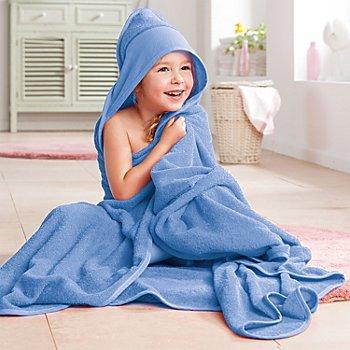 buttinette Sortie de bain pour enfants, avec capuche à broder, bleu, 140 x 140 cm