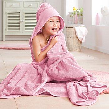 buttinette Sortie de bain pour enfants, avec capuche à broder, rose, 140 x 140 cm