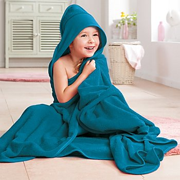 buttinette Sortie de bain pour enfants, avec capuche à broder, bleu foncé, 140 x 140 cm