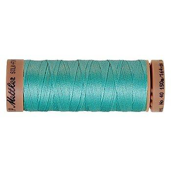Mettler Silk Finish Cotton - Fil pour machine à coudre, turquoise, grosseur : 40, 150 m