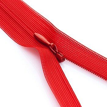 buttinette Nahtverdeckter Reißverschluss, rot, nicht teilbar
