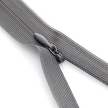 buttinette Nahtverdeckter Reißverschluss, grau, nicht teilbar