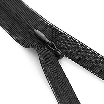 buttinette Nahtverdeckter Reißverschluss, schwarz, nicht teilbar
