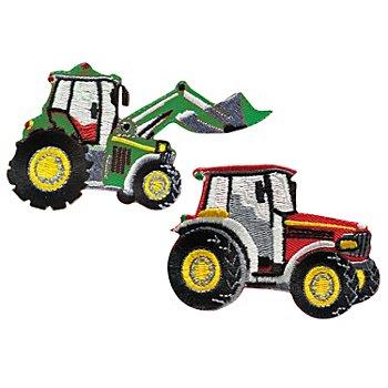 buttinette Applikationen 'Traktor', Größe: 7,5 x 5 cm, 8,5 x 5 cm, Inhalt: 2 Stück