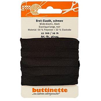 buttinette Ruban élastique 'large', noir, largeur : 12 mm, ruban de 10 m
