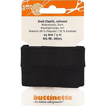 buttinette Gummiband 'Breit-Elastik', schwarz, Breite: 25 mm, Länge: 5 m