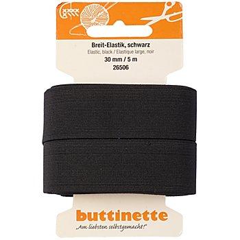 buttinette Gummiband 'Breit-Elastik', schwarz, Breite: 30 mm, Länge: 5 m
