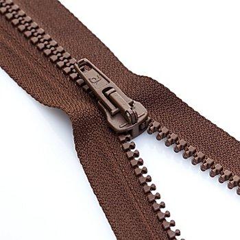 buttinette Reißverschluss mit Kunststoffkrampe, braun, teilbar