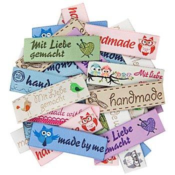 buttinette Label-Set, Größe: 5,5 x 1,6 cm, Inhalt: 40 Stück
