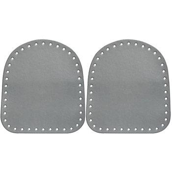 buttinette Seitenteile für Taschen aus Kunstleder, grau, Größe: 18 x 20 cm, Inhalt: 2 Stück