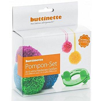 buttinette Pompon-Set, mit Schablonen in 6 Größen von 2,5–9 cm Ø