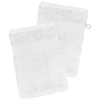 buttinette Lot de 2 gants de toilette à broder en tissu éponge, blanc