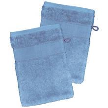 buttinette Lot de 2 gants de toilette à broder en tissu éponge, bleu