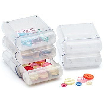 buttinette Boîtes de rangement, dim. : 9 x 7,5 x 3 cm, contenu : 5 pièces