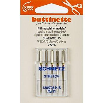 buttinette Nähmaschinennadeln 'Stretch', Stärke: 75, Inhalt: 5 Stück