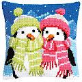"""Kreuzstichkissen """"Pinguine im Winter"""""""