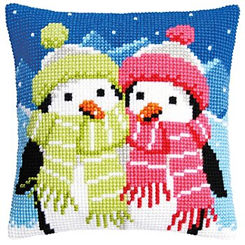 Kreuzstichkissen 'Pinguine im Winter'