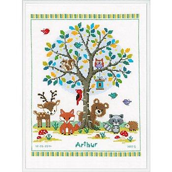Stickbild 'Fröhliche Waldtiere', 28 x 35 cm