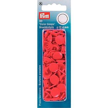 Prym Druckknöpfe 'Color Snaps', rot, 12,4 mm Ø, 30 Stück