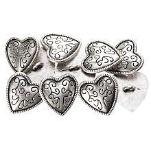 buttinette Boutons en métal 'cœur', 20 x 20 mm, 10 pièces
