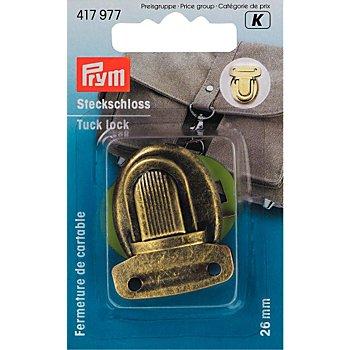 Prym Steckschloss für Taschen, Größe: 26 x 35 mm, Farbe: altmessing