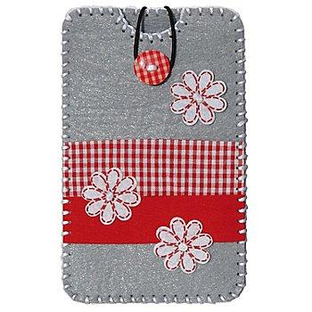 Kleiber Filzbastel-Set 'Smartphone-Hülle', grau-rot, Größe: 13,5 x 8,3 cm