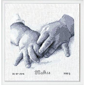 Kreuzstichbild 'Baby-Hände', 20 x 18 cm
