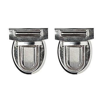 buttinette Steckschloss für Taschen, Größe: 32 x 38 mm, silber, Inhalt: 2 Stück