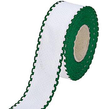 Aida-Stickband mit grünem Rand, Breite: 3 cm, 5m-Rolle