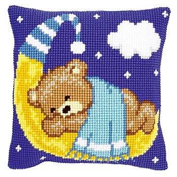 Kreuzstichkissen 'Bär auf Mond hellblau'