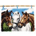 """Knüpfteppich """"Unsere Pferde"""" 55 x 40 cm"""