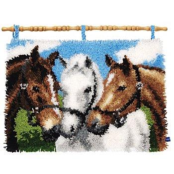 Knüpfteppich 'Unsere Pferde' 55 x 40 cm