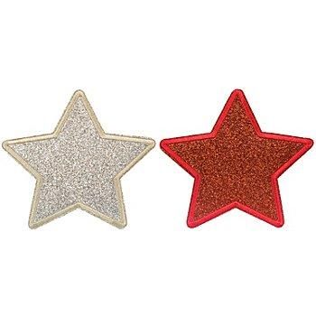 buttinette Glitzer-Applikationen 'Sterne', gold/silber und rot, 10 cm, 2 Stück