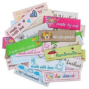 buttinette Label-Set 'Kinder' zum Aufbügeln, Größe: 5,5 x 1,6 cm, Inhalt: 30 Stück