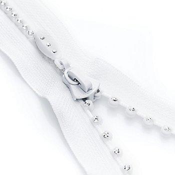 buttinette Fermeture à glissière avec pierres strass, blanc, séparable