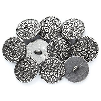 buttinette Boutons tyroliens ronds 'edelweiss', argent, 20 x 20 mm, 10 pièces