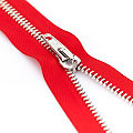 buttinette Reißverschluss mit Metallkrampe, rot, nicht teilbar