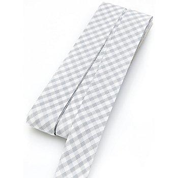 buttinette Baumwoll-Schrägband Vichykaro, hellgrau-weiß, Breite: 2 cm, Länge: 5 m