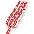 """buttinette Baumwoll-Schrägband """"Punkte"""" mit Häkelborte, rot-weiß, 3 m"""