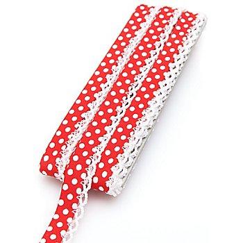 buttinette Baumwoll-Schrägband 'Punkte' mit Häkelborte, rot-weiss, 3 m