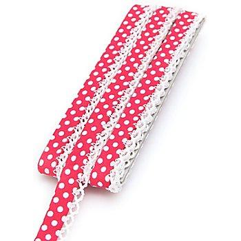 buttinette Galon en coton 'pois' avec bordure crochetée, rose vif/blanc, 3 m