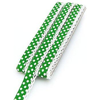 buttinette Baumwoll-Schrägband 'Punkte' mit Häkelborte, grün-weiß, 3 m